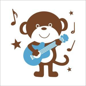 Cartoon Monkey Playing the Guitar PVC Plane Wall Stickers