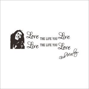 Love the Life You Live English Motto Dark Brown PVC Plane Wall Stickers