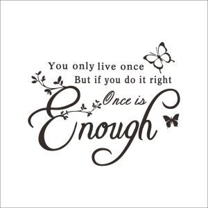 Once Is Enough English Motto PVC Plane Wall Stickers Dark Brown White 2 Options