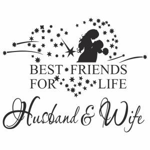 Husband and Wife English Motto PVC Plane Wall Stickers Dark Brown White 2 Options