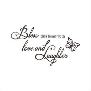 Bless Butterfly English Motto Dark Brown PVC Plane Wall Stickers