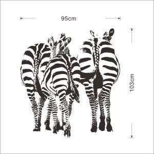 Creative Zebra 3 Zebras PVC Plane Wall Stickers