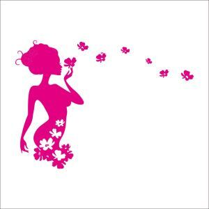 Enchanting Pink Woman Pink PVC Plane Wall Stickers