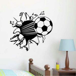 The Running Soccer Black PVC Plane Wall Stickers