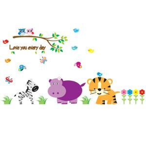 Cartoon Owl Bird Butterfly Tiger Hippo Zebra Flowers Small Grass Branches Colorful PVC Plane Wall Stickers