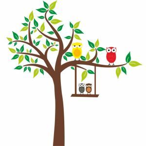 Cartoon Owl Swing Small Tree Colorful PVC Plane Wall Stickers