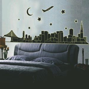 The City at Night Noctilucent PVC Plane Wall Stickers