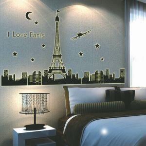 I LOVE PARIS Eiffel Tower Noctilucent PVC Plane Wall Stickers