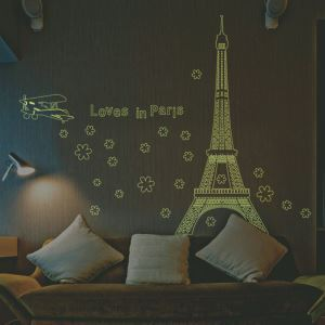 Loves in Paris Eiffel Tower Noctilucent PVC Plane Wall Stickers