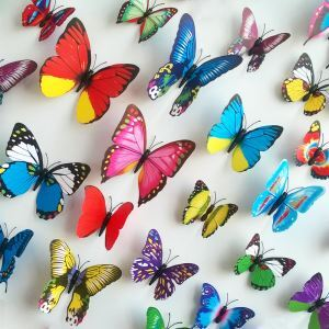 12 Pcs Creative Three-dimensional Colorful Butterfly PVC 3D Wall Stickers Red Purple Cyan Green Yellow 5 Options
