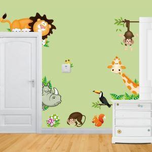 Cartoon Lion Rhino Frog Squirrel Giraffe Ravens PVC Plane Wall Stickers
