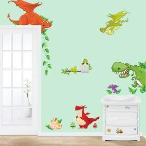 Cartoon Lovely Dinosaur PVC Plane Wall Stickers