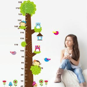 Cartoon Tree and Little Animals Child Height Measurement Scale Ruler PVC Plane Wall Stickers