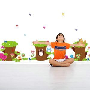 Cartoon Small Stumps and Little Animals PVC Plane Wall Stickers