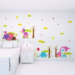 Cartoon Little Animals Colorful Cloud PVC Plane Wall Stickers
