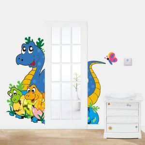 Cartoon Dinosaur Mom and Baby PVC Plane Wall Stickers