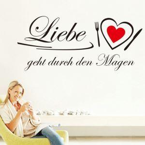 German liebe geht Heart Study Room Bedroom Living Room Black PVC Plane Wall Stickers