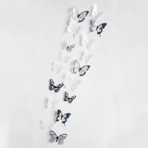 12 Pcs Black and White Butterfly Study Room Children Room Living Room Bedroom PVC 3D Wall Stickers