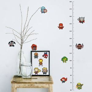 European Cartoon Animation The Avengers Characters Children Room Bedroom Living Room PVC Height Ruler Stickers