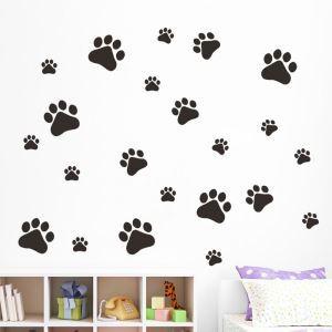 Cartoon Kitten Footprints Children Room Bedroom Living Entrance Black PVC Plane Wall Stickers