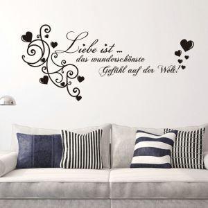 Liebe ist German Printing Motto Children Room Bedroom Living Room Entrance Kitchen Black PVC Plane Wall Stickers