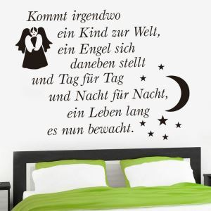 Kommt irgendwo German Motto Angel and 7 Stars Accompany the Moon Children Room Bedroom Living Room Entrance Kitchen Black PVC Plane Wall Stickers