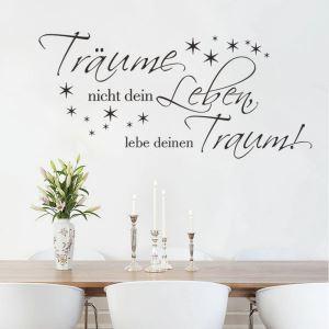 Traume nicht dein German Motto Little Stars Children Room Bedroom Living Room Entrance Kitchen Black PVC Plane Wall Stickers