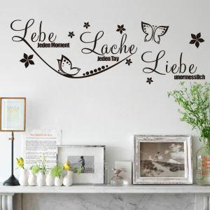 Lebe Jeden moment German Motto Children Room Bedroom Living Room Entrance Kitchen Black PVC Plane Wall Stickers
