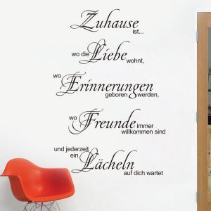 Zuhause ist German Motto Children Room Bedroom Living Room Entrance Kitchen Black PVC Plane Wall Stickers