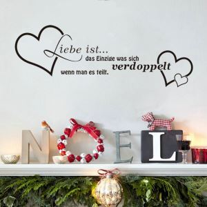 Liebe ist German Motto Heart Children Room Bedroom Living Room Entrance Kitchen Black PVC Plane Wall Stickers