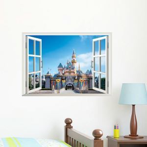 Scenery Outside the Window Castle Children Room Bedroom Living Room Entrance Colorful PVC 3D Wall Stickers