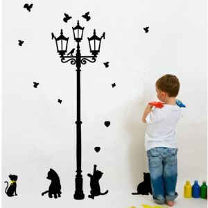 Cartoon Black Street Light and Kitten Children Room Bedroom Living Room Entrance PVC Plane Wall Stickers