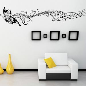Butterfly and Beautiful Music Note Children Room Bedroom Living Room Entrance PVC Plane Wall Stickers Black Purple 2 Options