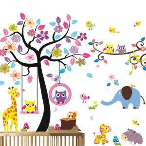 Cartoon Colorful Tree Little Animals Children Room Bedroom Living Room Entrance PVC Plane Wall Stickers