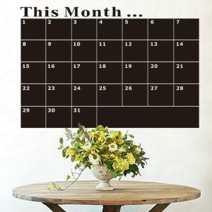 THIS MONTH Mothly Black Record Board Study Room Office Living Room Entrance PVC Plane Wall Stickers