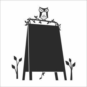 Cartoon Owl Black Board Office Living Room Entrance PVC Plane Wall Stickers