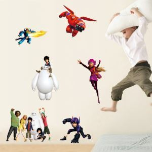 Big Hero Children Room Bedroom Living Room Entrance PVC 3D Wall Stickers