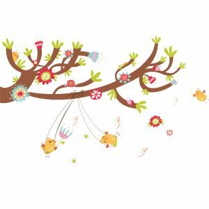 Cartoon Trees and Birds Ladybugs Warmth Children Room Bedroom Living Room Entrance PVC Plane Wall Stickers