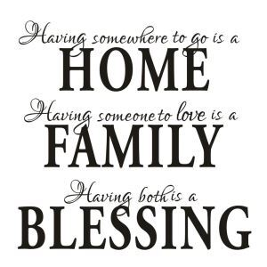 HOME FAMILY BLESSING Children Room Bedroom Living Dining Room Black PVC Plane Wall Stickers