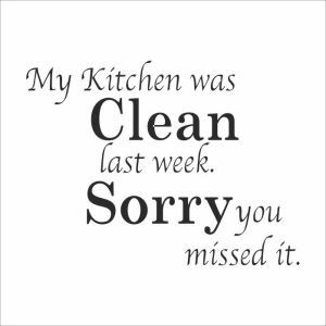 My Kitchen Was Clean Children Room Bedroom Living Dining Room Cafe Black PVC Plane Wall Stickers