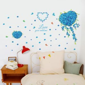 Cartoon Blue Heart-shaped Flowers Cluster Children Room Bedroom Living Dining Room Cafe Study Room PVC Plane Wall Stickers