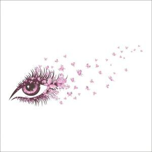 Pink Eye and Butterfly Makeup Room Bedroom Living Room Cafe PVC Plane Wall Stickers