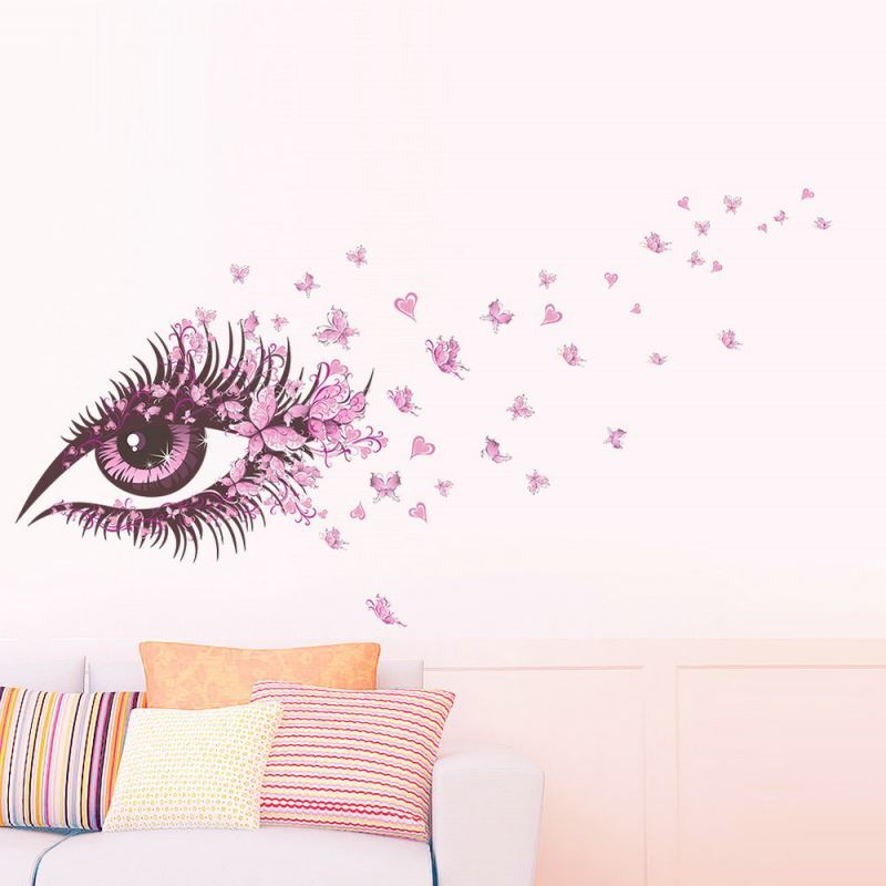 pink eye and butterfly makeup room bedroom living room cafe pvc