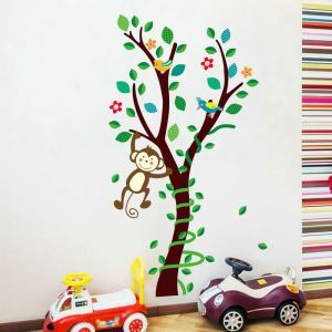 Cartoon Tree Monkey Bird Children Room Bedroom Living Dining Room Entrance PVC Plane Wall Stickers