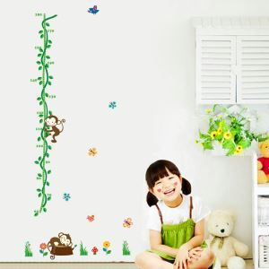 Cartoon Monkey Tree Rattan Scale Ruler Children Room Bedroom Living Dining Room Entrance PVC Plane Wall Stickers Height Ruler Stickers