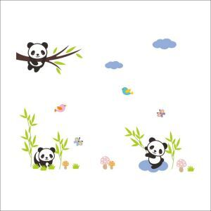 Cartoon Lovely Little Panda Children Room Bedroom Living Dining Room Entrance PVC Plane Wall Stickers