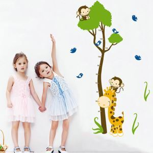 Cartoon Small Tree Monkey Giraffe Ruler Children Room Bedroom Living Dining Room Entrance PVC Wall Stickers Height Ruler Sticker