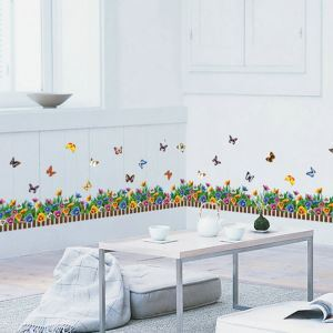 Cartoon Flower Garden Butterfly Children Room Bedroom Living Dining Room Entrance PVC Wall Stickers