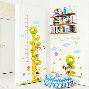 Happy and Good friendsCartoon Tree Animals Scale Ruler Children Room Bedroom Living Dining Room Entrance PVC Wall Stickers Height Ruler Sticker