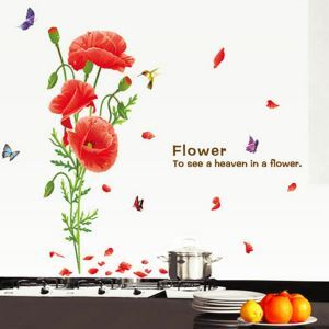 RED Flower and Butterfly Children Room Bedroom Living Room Entrance PVC Wall Stickers